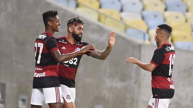Bruno Henrique, Gabigol, Michael, Bangu x Flamengo (Foto: André Durão)
