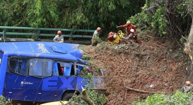 Dois corpos foram encontrados dentro de ônibus atingido por deslizamento Tânia Rêgo/Agência Brasil - 07.02.2019