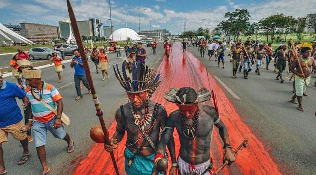 No dia 2 de janeiro, cerca de 180 famílias Guarani e Kaiowá sofreram ofensiva de seguranças privados em Dourados (MS) / Foto: Mobilização Nacional Indígena