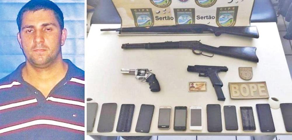 Polícia Civil da Bahia divulgou foto de Adriano Nóbrega de Material que os policiais encontraram em seu poder