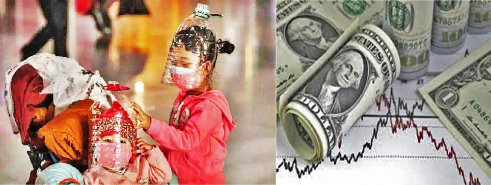 Enquanto crianças se protegem do coronavírus com garrafas de plástico e máscara em aeroporto de Pequim (30/01/2020), dólar registra maior alta dos últimos anos. Fotos/Kevin Frayer/Getty Images e cotação.com.br