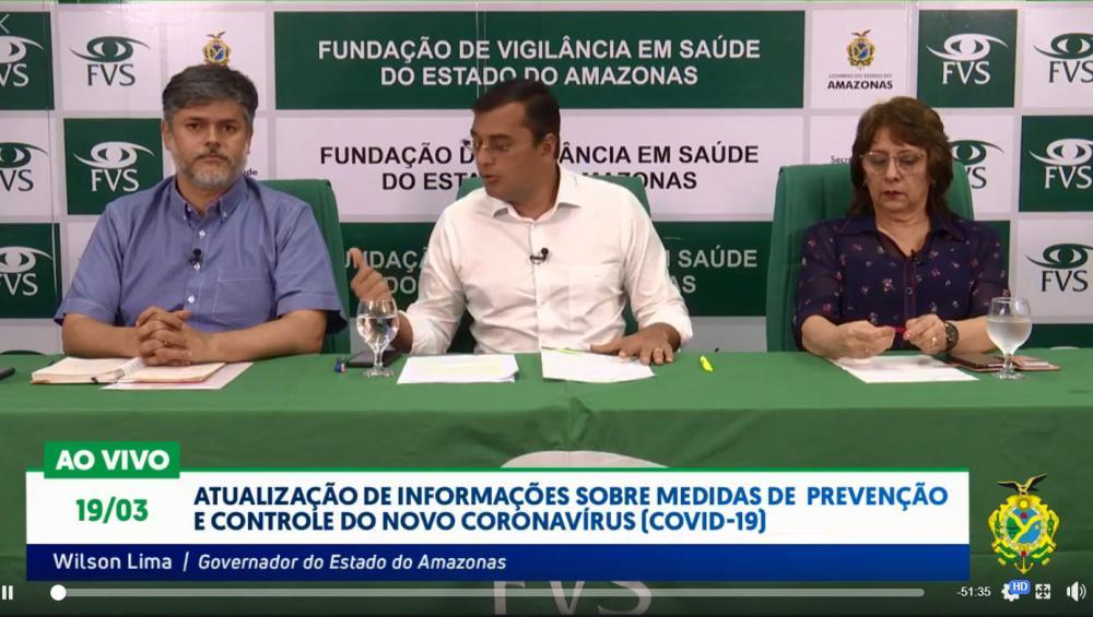 Governador Wilson Lima anuncia novas medidas para conter o avanço do Covid-19. (Foto: Reprodução vídeo)